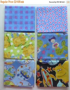 50% OFF SALE Cotton Fabric,Quilt,Craft~Children's Fat Quarter Bundle of 6~ Group #2~Fast Shipping FQ257