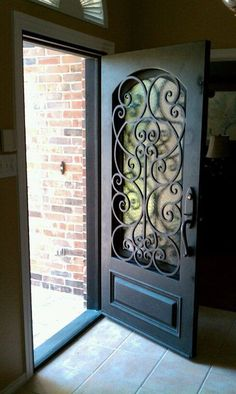 gorgeous front door - wrought iron by gaminee.ongali gorgeous front door – wrought iron by gaminee.ongali gorgeous front door – wrought iron by gaminee. Front Gates, Doors, Home, House Design, Gate Design, New Homes, Front Gate Design, Iron Doors, Home Deco