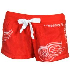 Detroit Red Wings Ladies Plush Shorts - Red