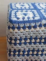 Granny Square Footstool Cover free pattern (after login)