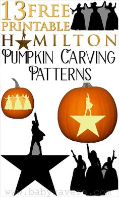 Hamilton pumpkin carving patterns, stencils and ideas to show you're a fan of the Broadway musical!