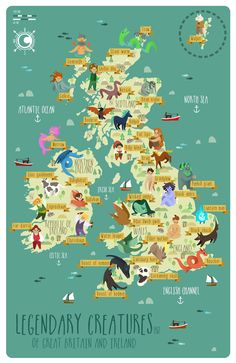 Legendary creatures of Great Britain and Ireland - Visiten Karten 2020 Cool Places To Visit, Places To Travel, Places To Go, Map Of Britain, Great Britain, Mythological Creatures, Mythical Creatures, Europa Tour, Illustration Inspiration