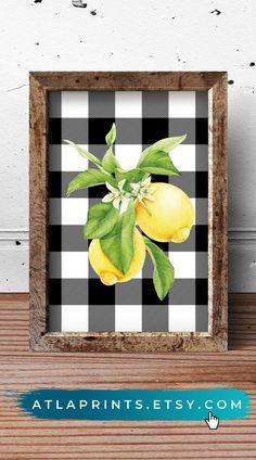 Lemon/B&W Kitchen Buffalo Check Farmhouse Sign Lemon Kitchen Decor, Farmhouse Kitchen Decor, Farmhouse Small, Kitchen Ideas, Lemon Painting, Plaid Decor, Kitchen Wall Art, Home Decor Inspiration, Fitness Inspiration
