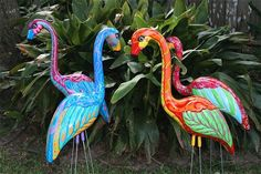 Fancying up the flamingos with paint.  (I guess they have classes for how to do this now too...crazy huh)