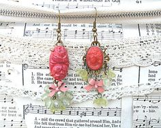 summer fairy earrings assemblage recycled vintage jewelry paprika cinnamon romantic cottage chic