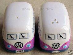 Retro VW Camper Van Salt Pepper Set Ceramic Shakers Cruet Set Purple & White