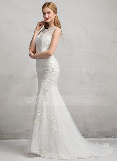 e9cafa9fc082 Trumpet/Mermaid Scoop Neck Sweep Train Tulle Lace Wedding Dress With  Beading Sequins (002083689