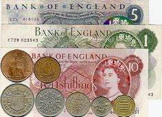 Pre 1971 Money. Money was divided into pounds (£) shillings (s. or /-) and pennies (d.). Thus, 4 pounds, eight shillings and fourpence would be written as £4/8/4d. or £4-8-4d.