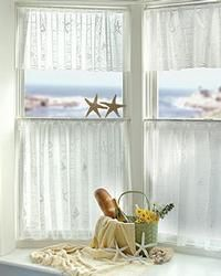 """Shell Curtain: 60x24 Tier, Hanging from soft, flowing tabs, the swag pair, valance and tiers display shells and a beachcomber's musings, while panels are as light and airy as a sea breeze. This is a restful motif, ideal in vacation or beach houses, or any nautical setting.  $ 23.    Tier: 60"""" x 24""""    Color: Off-White"""