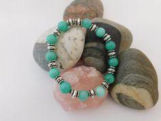 Ocean green Amazonite stretch bracelet. Boho bracelet Hippie