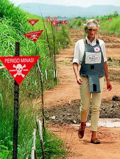 """A staunch opponent of land mines, the Princess – clad in a flak jacket and face shield – toured a minefield on Jan. 15, 1997. Diana, who was the British Red Cross vice president, later called for an international ban on mines and faced accusations in the UK that her actions were politically motivated. """"I am not a political figure,"""" she countered. """"My interests are humanitarian. That is why I felt drawn to this human tragedy."""""""
