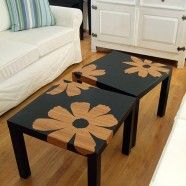 Ikea tables with bamboo veneer flowers. www.deservingdecor.org