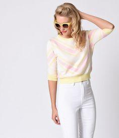 Collectif 1950s Style Yellow Pastel Chevron Esme Stretch Knit Top