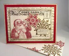 SANTA VINTAGE Post Card Hand Stamped by PrettyOnPaperShop on Etsy