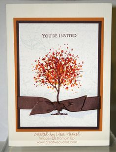 We like: Printed page on coloured background card, want to print on plain cream, use printer for: 'you're invited'/ 'wedding invitation', etc, and tree skeleton. Use stamps for leaves. ON BACK: Invitation information and a few leaves stamped on. RSVP page to be held with ribbon or twine. This should all fit easily into letter envelope.