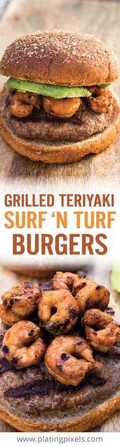Grilled Teriyaki Surf and Turf Burgers are a unique summer hamburger recipe. Teriyaki marinated shrimp, beef patties and avocado. It's Surf 'N Turf made easy. - www.platingpixels.com