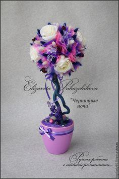 """Купить Топиарий деревце счастья """"Черничные ночи"""" - фиолетовый, топиарий, топиарий дерево счастья"""
