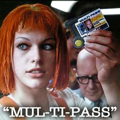 """Leeloo (Milla Jovovich) in Fifth Element."""" - with this passport you can go anywhere. Fifth Element Characters, Movie Lines, Milla Jovovich, Tv Show Quotes, Moving Pictures, My People, Popular Culture, Movies And Tv Shows, Redheads"""