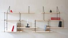 The Link Shelf by Studio Hausen- A string shelf update Shelving Design, Modular Shelving, Shelving Systems, Shelf Design, Modular Storage, Steel Furniture, Home Furniture, Furniture Design, Modular Furniture