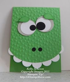 handmade card ... punch art ... big bumpy green monster/dragon card ... great fun for a young boy ... girls too! ... Stampin' Up!