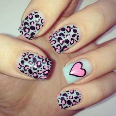 Leopard mint and pink nails. #nailart #pink #mint #leopard #heart #nails