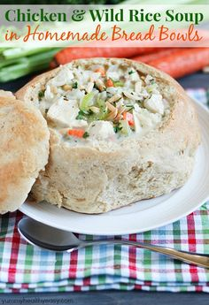 Delicious Creamy Chicken & Wild Rice Soup served from Homemade Bread Bowls will warm you up on a cold day!