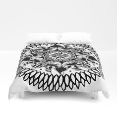 Black and White Checkered Hand-Drawn Mandala Duvet Cover