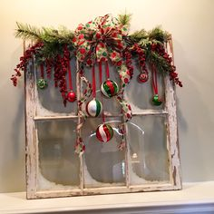 Christmas, DIY, vintage window, red and green, created by my husband. Christmas Window Decorations, Christmas Frames, Christmas Porch, Rustic Christmas, Vintage Christmas, Christmas Holidays, Christmas Wreaths, Christmas Villages, Victorian Christmas