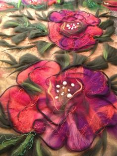 Poppies - wool felted scarf wrap from pure merino wool and hand dyed chiffon