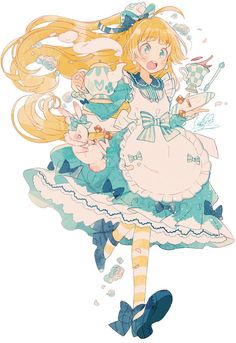 alice, anime, and illustration image Anime Chibi, Kawaii Anime, Kawaii Art, Anime Style, Anime Art Girl, Manga Art, Anime Girls, Pretty Art, Cute Art