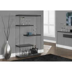 Monarch Specialties Glossy Grey with Tempered Glass Bookcase, Glass Display Shelves, Glass Bookcase, 4 Shelf Bookcase, Etagere Bookcase, Bookcases, Contemporary Bookcase, Modern Bookcase, Contemporary Furniture, Home Office Furniture