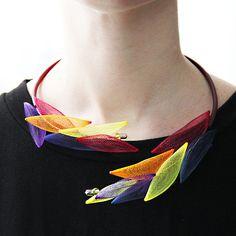 Multicolor necklace mesh- Popular jewelry- Unique design- Unusual necklaces- Rubber jewelry