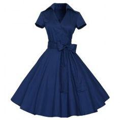 Vintage con cuello en V color puro corto vestido de bola de la manga para las mujeres