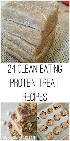 24 Clean Eating Protein Bar and Bite Recipes | Trying to clean up your diet but need something quick and easy to eat? Fear not! Check out these clean eating protein treat recipes! Try #Baking with more #wholefoods and reducing or even going #sugarfree!
