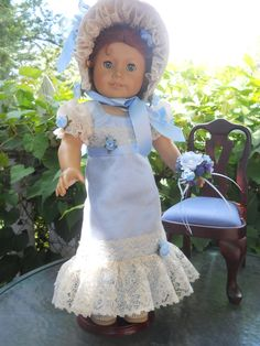 Regency Blue Bonnet and Gown for American Girl by GrandmaBdesigns