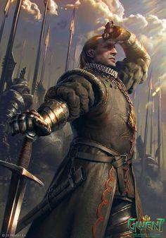 Balance between top right corner (metal gauntlet) and bottom left sword