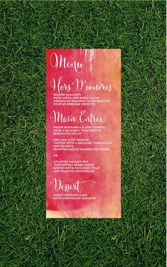 This menu is sweet and simple. Featuring a beautiful watercolor background and whimsical script.    This listing is for a down payment to go
