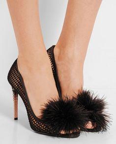 MIU MIU Feather-embellished Mesh Peep-toe Pumps | Buy ➜ http://shoespost.com/miu-miu-feather-embellished-mesh-peep-toe-pumps/