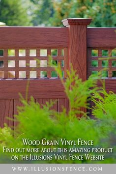 Wood Grain Vinyl Fence from Illusions Vinyl Fence. Find out more about this amazing low maintenance, ultra realistic PVC vinyl fencing product on the Illusions Fence Website. It's hands down the coolest new thing in fencing since... well... forever! Shown