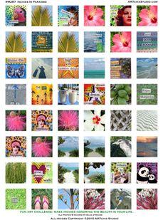 inchies | ARTchix Studio: M287: Inchies in Paradise Collage Sheet