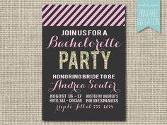 Bachelorette Party Invite Printable Gold by MarshAndPrairie