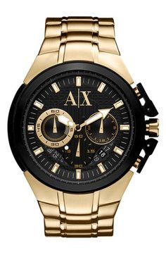 Upgrade your wrist wear with Armani Exchange. A sure statement, this stainless steel timepiece flaunts advanced movement, a three-eye chronograph dial, and a hard-wearing design. Ax Watches, Fancy Watches, Armani Watches, Stylish Watches, Luxury Watches, Cool Watches, Watches For Men, Jewelry Watches, Casual Watches