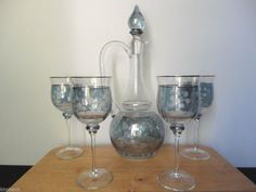 6 piece Decanter Set by Crystal Clear Blue Romania Gilded Etched Floral Pattern