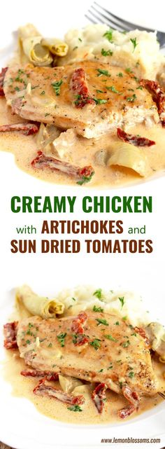Creamy Chicken with Artichokes and Sun Dried Tomatoes is made in one pan in less than 30 minutes. Pan seared chicken breast with a creamy and tasty sauce with artichoke hearts and sundried tomatoes. Chicken Artichoke Recipes, Artichoke Heart Recipes, Pasta With Artichoke Hearts, Sundried Tomato Recipes, Sundried Tomato Pasta, Chicken With Sundried Tomatoes, Pasta Recipes, Cooking Recipes, Chowders