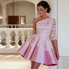 New Arabic Short Pink Homecoming Dreses 2016 One Shoulder Lace Ruffles Puffy Satin Prom Party Cocktail Special Occasion Gowns Cheap Custom Cheap Dress Cheap Sexy Dresses From Cinderella_shop, $78.35  Dhgate.Com