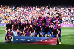 FC Barcelona players pose for a team picture prior to the La Liga match between FC Barcelona and Valencia CF at Camp Nou on April 18, 2015 in Barcelona, Catalonia.