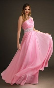 A-line One Shoulder Chiffon Floor-length Pink Beading Prom Dress