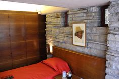 https://flic.kr/p/9wxF5H | Guest Bedroom | Frank Lloyd Wright\'s Fallingwater, Mill Run PA. Someday, I hope I can have orginal Diego Rivera\'s in my guest bedroom.
