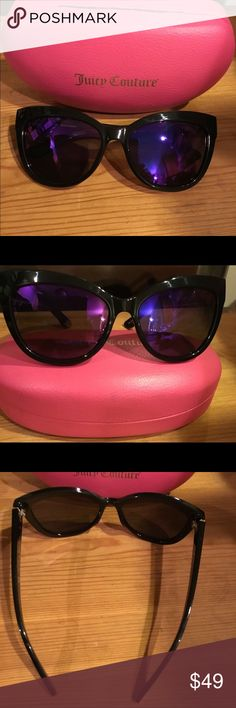 Black label Juicy Couture Sunglasses worn twice These sunglasses were worn twice they have purple lenses and black frames,, comes with original juicy pink case,, excellent condition like new, no scratches,, Juicy Couture Accessories Sunglasses