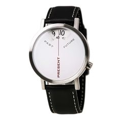 Projects 7214L-40 Men's Past, Present and Future White Dial Black Leather Strap Watch